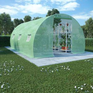 VidaXL Serre avec fondation en acier 13,5 m² 450x300x200 cm
