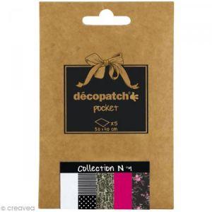 decopatch DP004O - Déco Pocket n°4 : 5 feuilles 30x40 cm, motifs 503, 485, 469, 653, 565