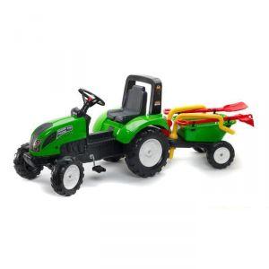 Falk Tracteur à pédales Garden Master + Remorque brouette avec pelle, rateau et arrosoir