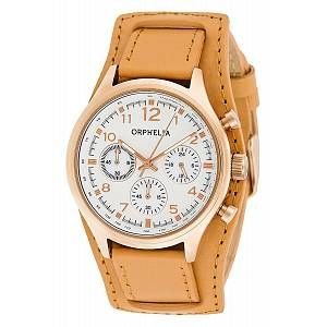 Orphelia 81504 - Montre Femme - Quartz - Chronographe - Chronomètre - Aiguilles - Luminescent - Bracelet cuir Marron