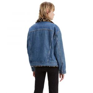 Levi's Oversized Rev Fur Trucker veste en jean Femmes bleu T. L