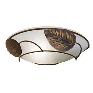 Tosel Applique demi-lune décor feuilles Eglantine  en métal et verre