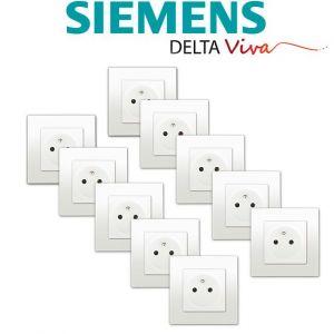 Siemens LOT 10 Prise 2P+T Blanc Delta Viva + Plaque Blanc