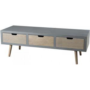 Meuble TV scandinave gris effet béton brillant et décor bois naturel L 120 cm