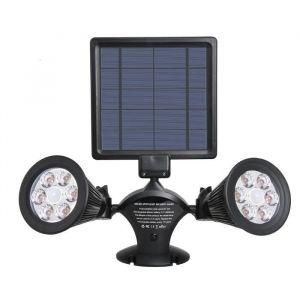 Lumisky Projecteur double spot solaire extérieur étanche avec détecteur- 12 LEDs - 600 Lm - 12 LEDs - 600 Lm - 8 à 10 h - 2 modes d'éclairage - Avec détecteur de mouvement - Tête pivotante à 360°C