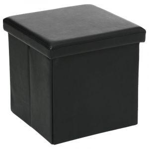 Atmosphera Pouf pliant carré PVC - noir