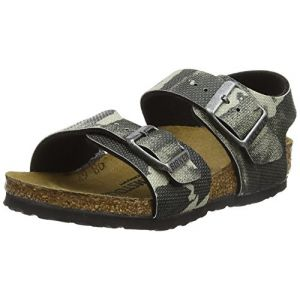 Birkenstock New York, Bride Cheville Mixte Enfant, Mehrfarbig (City Camo Gray), 34 EU