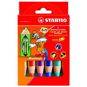 Stabilo 6 Crayons de couleur Woody 3 en 1 assortis