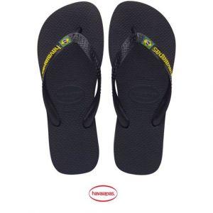 Havaianas Brasil Logo, Tongs Mixte Adulte - Noir 37/38 EU (35/36 Brazilian)