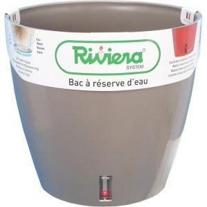 Riviera Pot plastique à réserve d'eau Diam.35 x H.33 cm taupe