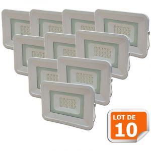 Lampesecoenergie Lot de 10 LED Projecteur Lampe 20W Blanc 6000K IP65 Extra Plat