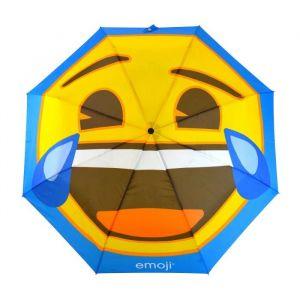 Parapluie Emoji Pliable Ris en pleur - Parapluie Emoji long Ris en pleur jaune et bleu - Poignée en caoutchouc antidérapant avec housse de rangement - 8 baleines - 152 cm.
