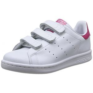 Adidas Stan Smith, Sneakers Basses Fille, Blanc (FTWR White/FTWR White/Bold Pink), 34 EU (UK Child 2 Enfant UK)