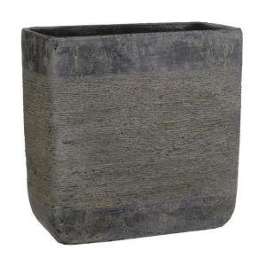 MICA Cache-pot rectangle Kane - Gris - Longueur: 14cm - Hauteur: 20cm