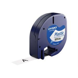 Dymo LetraTAG - Ruban plastique - blanc - Rouleau (1,2 cm x 4 m) 1 rouleau(x) - pour LetraTag LT-100H, LT-100T