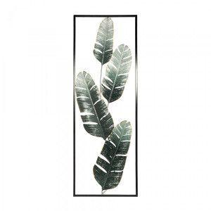 Atmosphera Décoration murale Feuilles de Bananier en métal Vert 31 x 89 cm