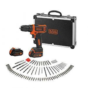 Black & Decker BDCDD12BAFC-QW Perceuse visseuse sans fil - 12 V max (= tension nominale de 10,8 V) - 1,5 Ah - 2 batteries - 100 accessoires