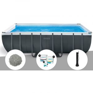 Intex Kit piscine tubulaire Ultra XTR Frame rectangulaire 5,49 x 2,74 x 1,32 m + 20 kg de zéolite + Kit de traitement au chlore + Douche solaire