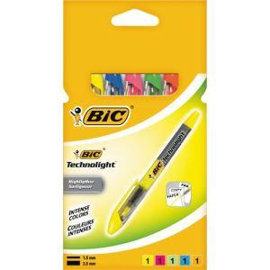 Bic 5 Surligneurs Technolight pointe biseautée
