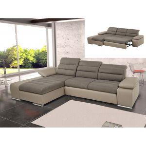 Canapé d'angle convertible en tissu et simili MIRABEAU - Bicolore chocolat/taupe - Angle gauche