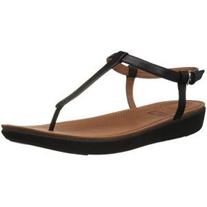 FitFlop Tia Toe-Thong Leather, Sandales Bout Ouvert Femme, Noir (Black 001), 36 EU