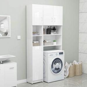 VidaXL Armoire de salle de bain Blanc brillant 32x25,5x190cm Aggloméré