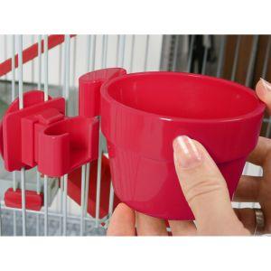 Zolux Mangeoire en plastique pour rongeurs à fixer cerise diamètre 9,5 cm (300 ml maxi)