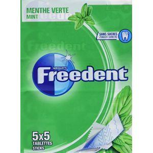 Freedent Chewing-gum sans sucres au goût menthe verte - Multipack de 5 étuis de 5 sticks, 65g