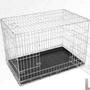 Cage pour chien 2 portes pliable en métal et transportable avec poignées 90/56/63,5 cm