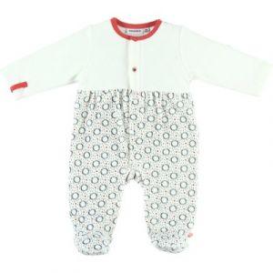 Noukie's Pyjama chaud écru et rouge Timeless (6 mois) layette