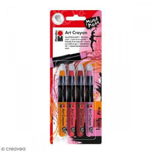 Marabu Crayon cire aquarelle - Art Crayon - Lovely red - 4 pcs