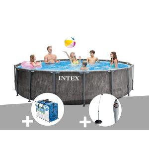Intex Kit piscine tubulaire Baltik ronde 5,49 x 1,22 m + Bâche à bulles + Douche solaire