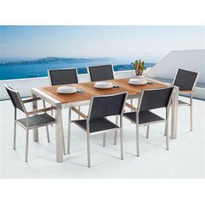Beliani Ensemble de jardin table 180 cm et 6 chaises noires Grosseto