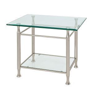 Bout de canapé rectangulaire Vienne en acier et verre