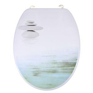 Abattant WC de toilette standard Galets Zen en bois compressé MDF avec charnières inox