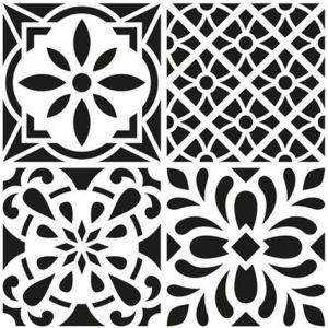 Artémio Pochoir Home Déco - Carreau ciment fleuri - 30 x 30 cm
