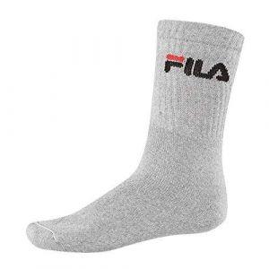 FILA 6 paires chaussettes, Chaussettes de tennis avec logo Ceinture, unisexe - Gris - 43-46
