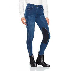 HKM Alos Pantalon d'équitation d%u2019été pour Femme, Denim, Renforts aux Genoux Taille Unique Bleu Jeans/Bleu foncé