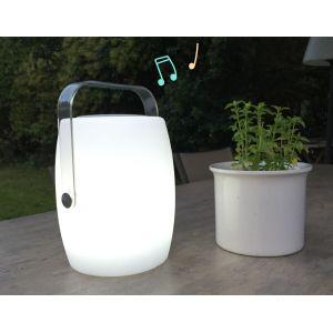 Lumisky Lampe musicale d'extérieur avec haut parleur - 21 x 21 x 31 cm - Avec haut parleur 10 W, sur batterie + télécommande - Système audio Bleutooth - Couleur fixe ou changeante