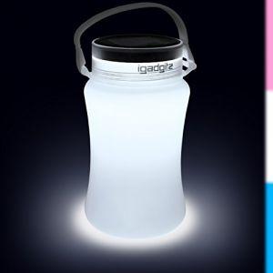 igadgitz Xtra U4392 Solar Glow 100lm USB Batterie et Energie Solaire Rechargeable de Camping Bouteille de Rangement Étance - Blanc