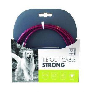 M pets MPETS Câble d'attache Tres resistant TIE OUT - Pour chien - 3m -Rouge - Câble long - Très résistant - Supporte jusqu'à 45kg