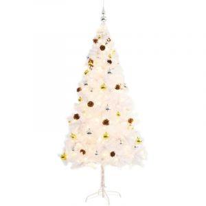 VidaXL Arbre de Noël artificiel avec boules de Noël et LED 180cm Blanc
