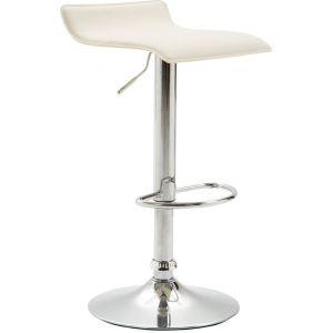 CLP Tabouret de Bar DYN V2 en Similicuir, Hauteur Réglable et Assise Pivotante à 360°, Chaise Haute avec Repose-Pieds et Piètement Chromé, pour la Cuisine ou Salle à Manger crème