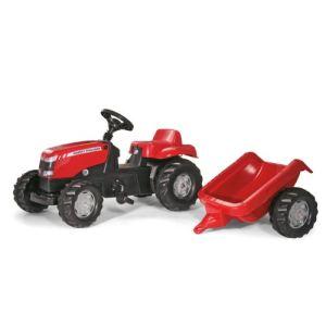 Rolly Toys Tracteur à pédales Massey Ferguson avec remorque