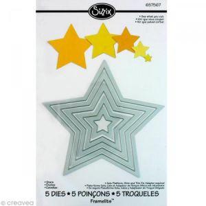 Sizzix 657567 Framelits Pack de 5 Matrices de Découpage Étoiles