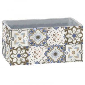 Ma Maison Mes Tendances Cache-pot rectangulaire en carreaux de ciment blanc et gris 43 CM EVORA - L 83 x l 43 x H 43