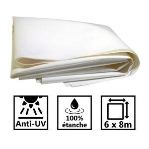 Toile de toit pour tonnelle et pergola 680g/m² blanche 6x8m PVC
