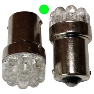 Aerzetix : 2x ampoule 24V P21W R10W R5W 9LED vert pour camion semi-remorque porte de garage portail