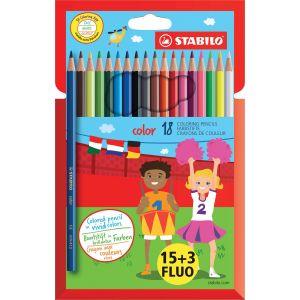 Stabilo Crayon de couleur Color couleurs assorties dont 3 fluos - Pochette de 18