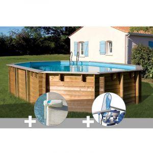 Sunbay Kit piscine bois Vermela 6,72 x 4,72 x 1,46 m + Alarme + Kit d'entretien